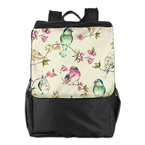 Women Backpack Camping School Colorful Outdoors Birds and for Men Strap Storage HSVCUY Travel Personalized Flowers Adjustable Shoulder Dayback and 1IwExqa