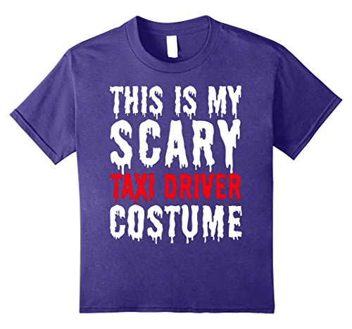 Taxi Driver Halloween Costumes (Kids This is My Scary Taxi Driver Costume - Fun Halloween T-Shirt 12 Purple)