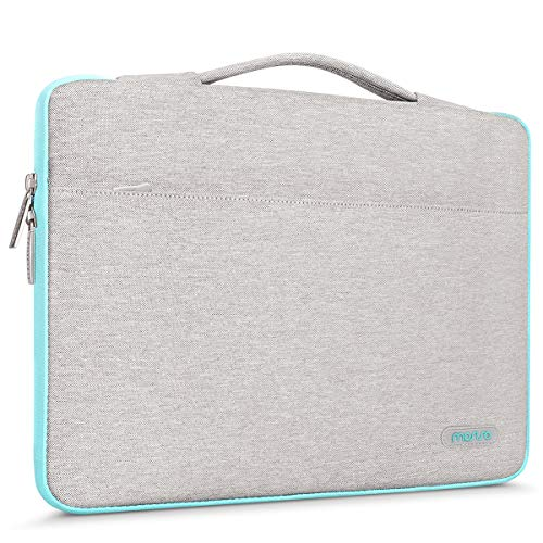 MOSISO 360° Protective Laptop Briefcase Handbag Compatible 13-13.3 Inch MacBook Pro, MacBook Air, Notebook with Fully Open Zipper, Polyester Shockproof Carrying Sleeve Case Cover Bag, Gray