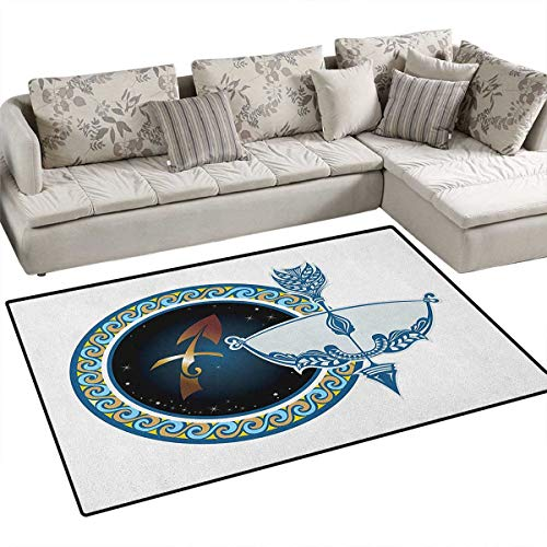 Zodiac Sagittarius,Rug,Colorful Composition of Swirls Curves with Vintage Bow and Arrow Motif,Floor Mat for Kids,Multicolor ()