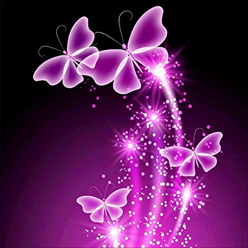 5D DIY Diamond Painting kit Rhinestone Embroidery Cross Stitch Arts for Craft Home Wall Decor,Purple Butterfly