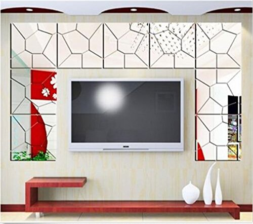 Cool2day® 7Pcs SET Moire Pattern Mirror Removable Decal Art Mural Wall Sticker Home Decor