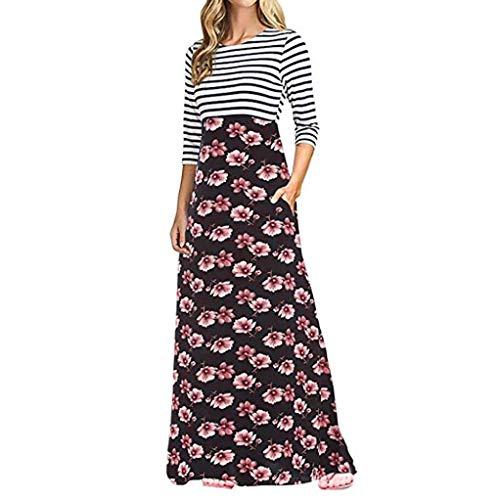 POLP Vestidos Largo Mujer,Vestido Rayas Mujer,Vestido Largo Fiesta Mujer,Falda Larga Mujer,Vestido Largo Negra,Vestido Manga Larga Mujer,Ropa otoño Mujer 2018,Vestidos otoño,Ropa otoño Mujer Rojo
