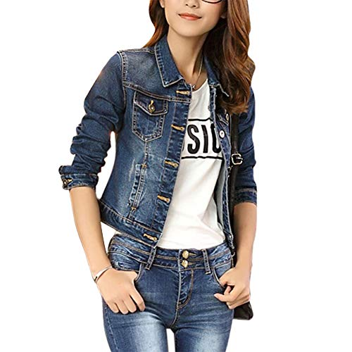 Up Jean Jacket Top Sleeve Ladies Long Women Outerwear Blue Denim VERYCO Coat Short Button vqRyF8p6