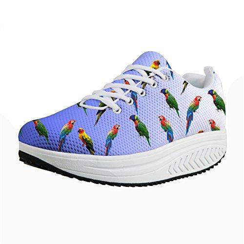 Bigcardesigns Moda Sneaker Womens Pappagallo Modello Scarpe Da Passeggio Blu