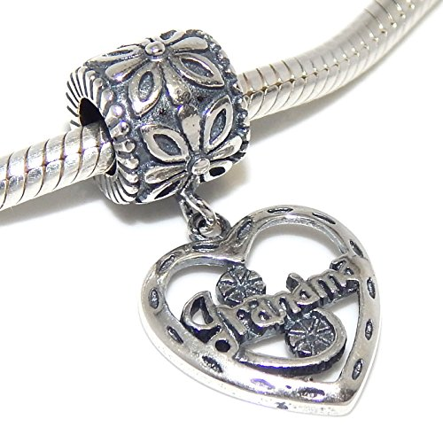 "Pro Jewelry .925 Sterling Silver ""Grandma Heart Dangle"" Charm Bead"