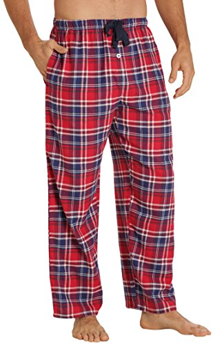 - EVERDREAM Sleepwear Mens Flannel Pajama Pants, Long 100% Cotton Pj Bottoms,Size Small Red