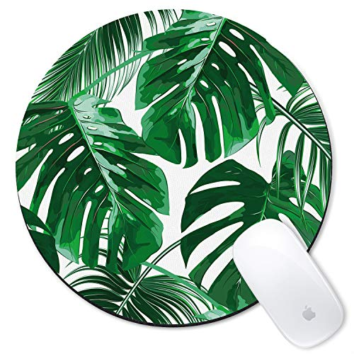 Galdas Mouse Pad Tropical Leaf Design Mousepad Non-Slip Rubber Gaming Mouse PadRound Mouse Pads for Computers Laptop