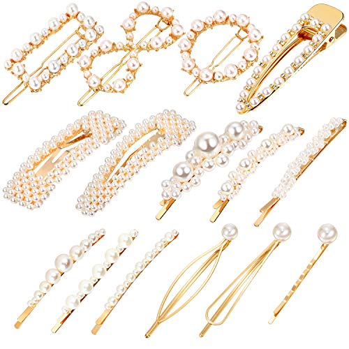 R HORSE 15 Packs Pearl Hair Clips Artificial Pearl Hair Accessories Decorative Alligator Hair Barrettes Pins for Women Wedding Bridal
