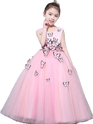 Robe Princesse Filles Big Swing Embellissement De Papillon Robes De Soiree Pour Enfant 3 8 Ans Amazon Fr Vetements Et Accessoires