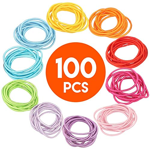 - 100 Pcs Hair Ties Hair Elastics, No Metal Damage Crease Snagging Slipping Breaking Out Ouchless Ponytail Holders, Seamless 2mm Hair Bands Bulk Hair Accessories for Thick Thin Long Short Hair