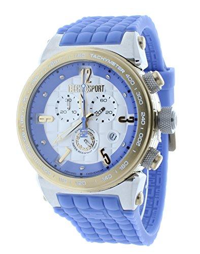 Technosport TS-1300-4 Unisex Light Blue Checkered Swiss Chrono Watch Gold-Tone Case