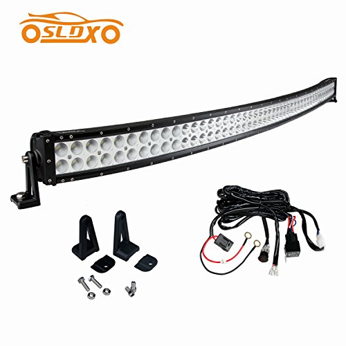 SLDX 50inch 288w Curved Led Light Bar 17280lm 30 Degree Spot & 60 Degree Flood Combo Car Led Bar Light IP68 12/24v Free Wiring Harness