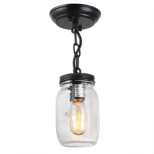 Bagood 1 Light Glass Mason Jar Pendant Close to Ceiling Light fixtures, Single Head Pendant Lamp