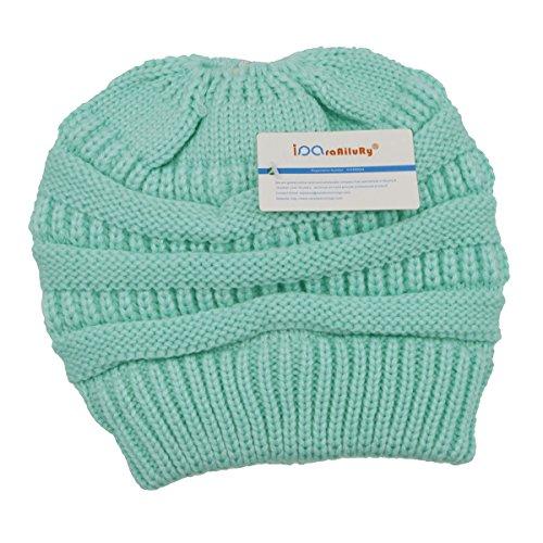 iParaAiluRy Mujer Gorros con Coleta - Caliente Gorro de Punto de Invierno y  el Agujero - Sombreros de Invierno Knit Ponytail Beanie Hat  Amazon.es  Ropa  y ... 05f2b464988