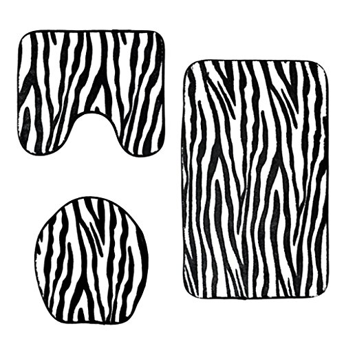 - Baoblaze 3pcs Animal Print Non-Slip Rug Bath Mat Bathroom Toilet Seat Lid Cover Set - Zebra Stripe
