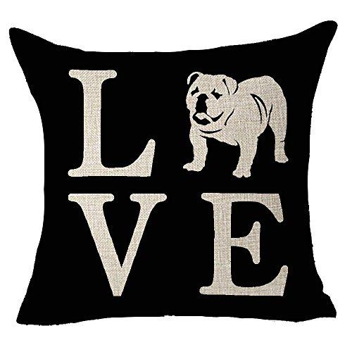 FELENIW Cute Animal Pet Dog English Bulldog Love People Friend Throw Pillow Cover Cushion Case Cotton Linen Material Decorative 18