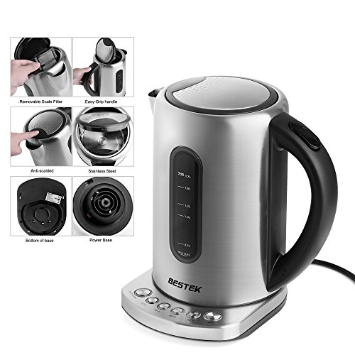 Electric Kettle Openuye 1.7L Iluminated Cordless Fast Boil Water Kettle with LCD Display Auto Shutoff Boil-Dry Protection for Coffee /& Tea Brewing Energy Class A+