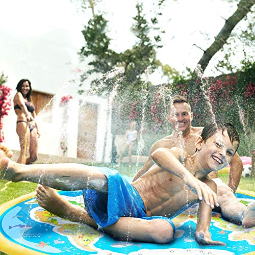 ACSTEP Splash Pad, Outdoor Sprinkler for Kids, Inflatable Splash Play Mat Summer Sprinkler Water Toys for Toddlers,Kids and Babies Gifts, Outdoor Swimming Pool Splash Pad Pool for Babies and Toddlers
