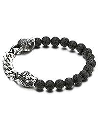 Mens Steel Curb Chain Lion Heads 8MM Black Volcanic Lava Rock Stone Beads Bracelet, Stretchable