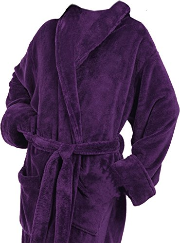(Tri Color Robes Customizable Men's Microfiber Plush Luxury Robe Purple)