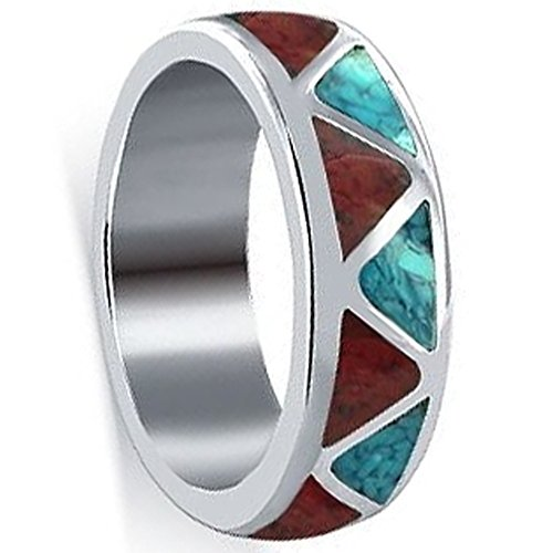 Sterling Turquoise Coral Ring - Men's Sterling Silver Turquoise with Coral Gemstone Band Size 11 Southwestern Style