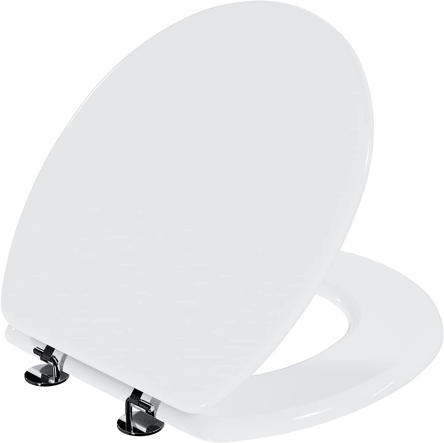 ANZZI XL Comfort Round Oversized Toilet Seat with Cover   Durable High Grade Plastic and Stainless Steel Hinges 800 Pound Capacity Closed Toilet Seat in White   T1-AZ301WH
