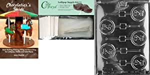 Cybrtrayd I'm 4 Lolly Letters and Numbers Chocolate Mold with Chocolatier's Bundle, Includes 25 Lollipop Sticks, 25 Cello Bags and 25 Silver Twist Ties