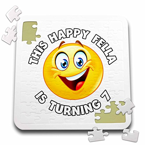 Carsten Reisinger - Illustrations - Fun Birthday This Happy Fella is turning 7 Party Celebration - 10x10 Inch Puzzle (pzl_261535_2) by 3dRose