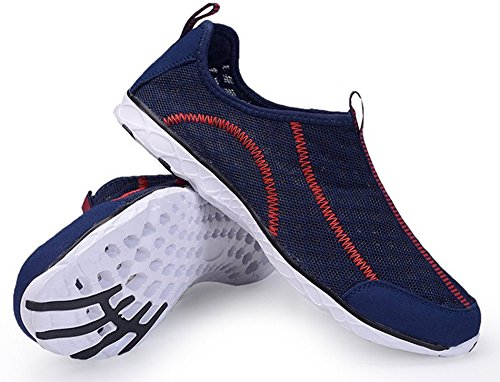 ECOTISH Herren Wasser Schuhe Leicht und Atmungsaktiv Mesh-Wasserdichtes Slip-On, Schnelltrocknende Multifunktions -Turnschuhe (43 EU/9 UK, Dunkelblau)