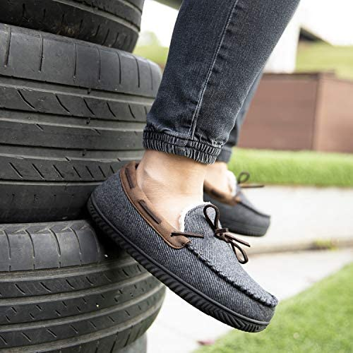 ULTRAIDEAS Mens Comfort Moccasin Slippers Memory Foam House Shoes with AntiSkid Rubber Sole