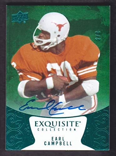 2014 Texas Longhorns Football - 2014 Upper Deck Exquisite Collection Football Green Spectrum #27 Earl Campbell Auto 2/4 Texas Longhorns