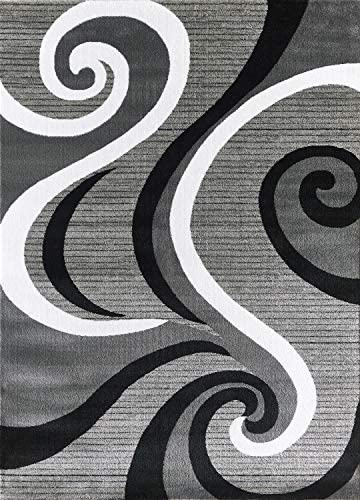 Glory Rugs Black Area Rug 8×10 Gray Modern Carpet Bedroom Living Room Contemporary Dining Accent Sevilla Collection 4817A Grey Black