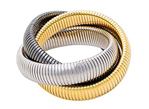 JANIS BY JANIS SAVITT Triple Cobra Bracelet - High Polished 18K Yellow Gold, Gunmetal, and Rhodium
