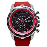 DOLDOA Sale Clearance for Men's Silicone Strap Sport Analog Quartz Modern Boys Fashion Wrist Watches (Red)