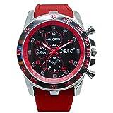 OUBAO Watches Sale Casual Sport Analog Quartz Watch Steel Strap Watch Analog Modern Wrist Watch (Red)