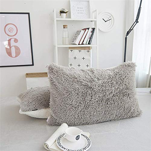 MooWoo 2pc Faux Fur Pillowcases,Sherpa Plush Fluffy, Solid Color, No Inside Filler, Zipper Close Decorative Throw Cover for Couch Sofa (Gray, 2 Pillow Cases 20