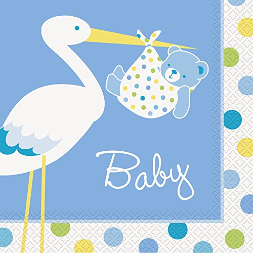 Breeze Luncheon Napkins - Blue Stork Baby Shower Luncheon Napkins, 16ct