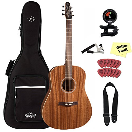Seagull 38916 S6 Mahogany Deluxe Acoustic-Electric Guitar with Seagull Padded Gig Bag and GuitarVault Accessory Kit