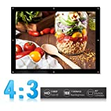 VGEBY Portable Projector Screen,16:9/4:3 Foldable HD Projector Screen Home Theater Cinema Projection Screen with Eyelets for HDTV/Sports/Movies/Presentations (Design : 4:3, Size : 100-inch)
