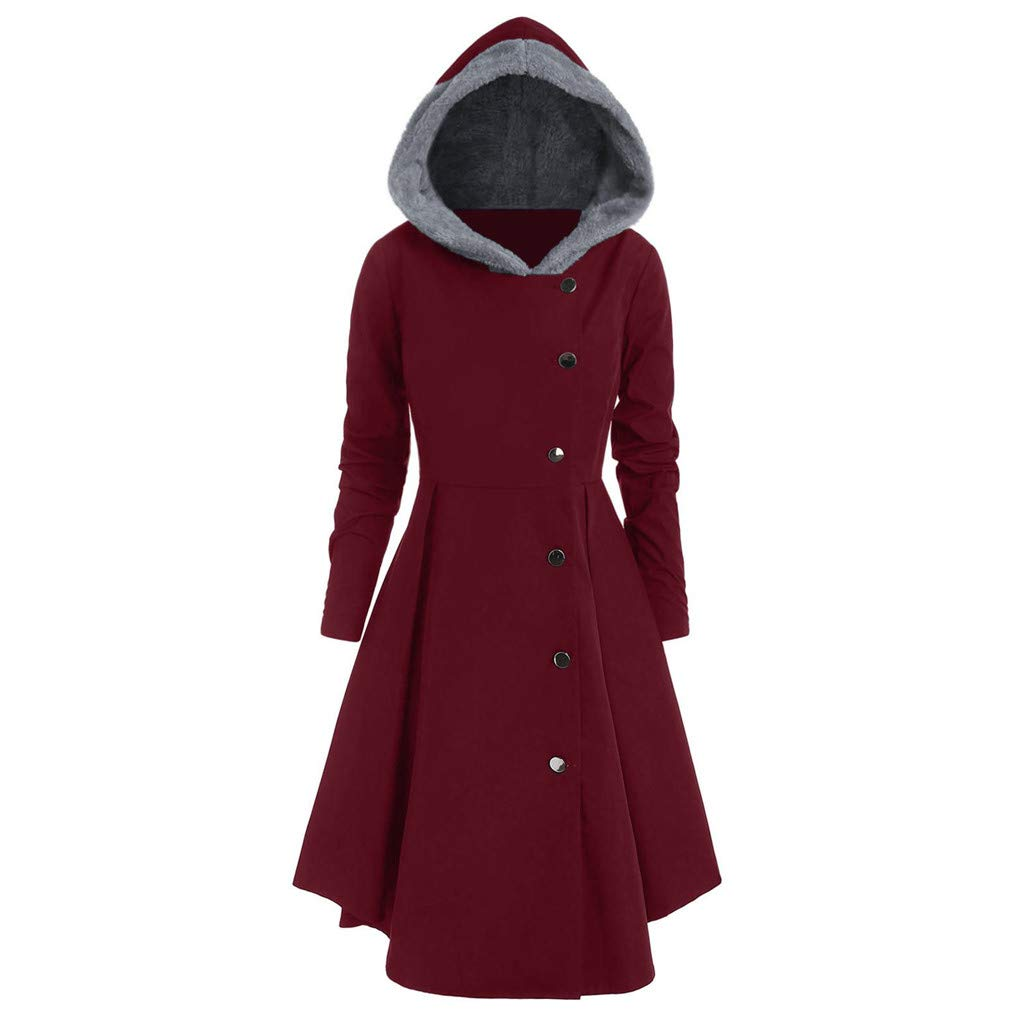 Harpi Women's Plus Size Fleece Hooded Single Breasted Long Coats Women Drap Buttons Tops Coat