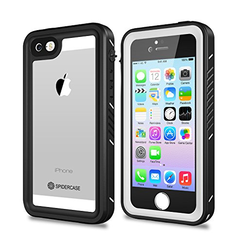 iPhone 5/5S/SE Waterproof Case,SPIDERCASE Full Body Protective Cover Rugged Dustproof Snowproof IP68 Certified Waterproof Case with Touch ID for iPhone 5S 5 SE (White&Clear)