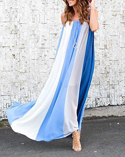 Azul Playa Vestido Verano Vestido de Verano Flujo Mujer Ropa Largo Vestidos de Mujer OqnFRnaWT