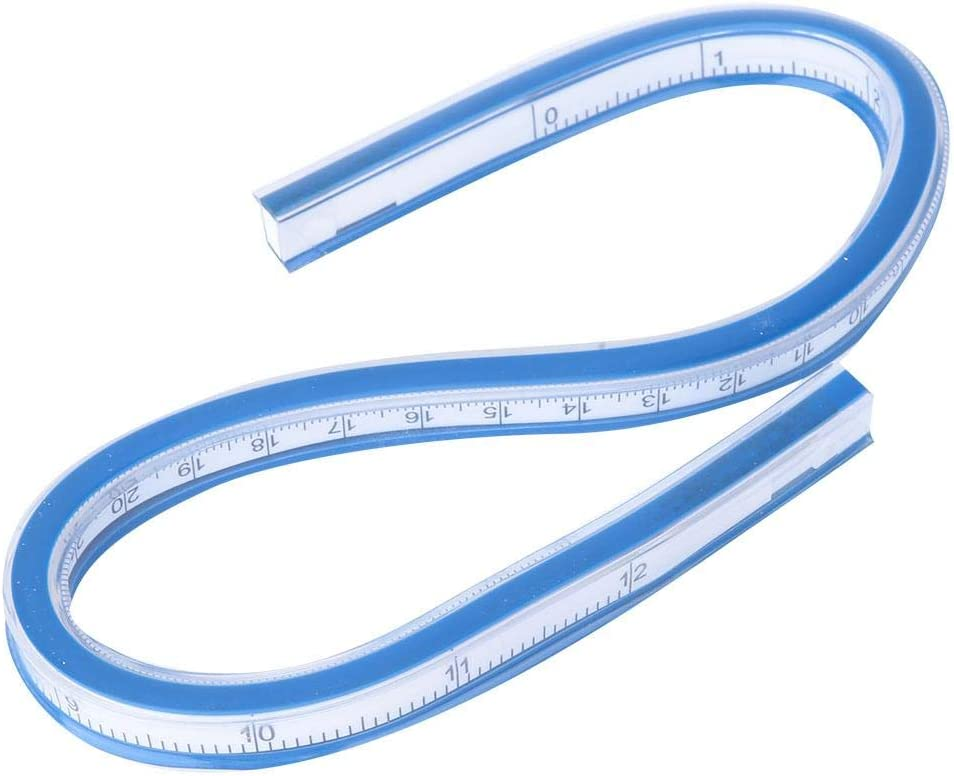 Flexible Curve Ruler Drawing Tape Measure Tool with 10Pcs Tailoring Chalk for Art Engineering Design Clothing 50cm