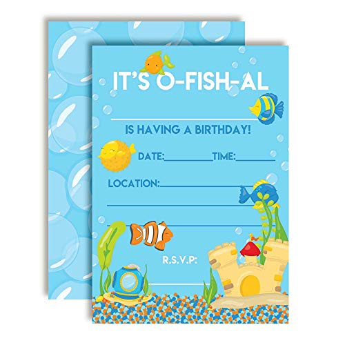 Aquarium Full of Fish Birthday Party Invitations, 20 5