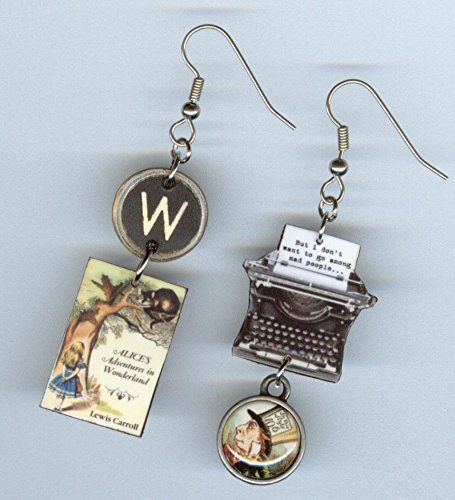 Book Cover Typewriter Earrings - Alice in Wonderland Mad Hatter - quote jewelry - readers literary gift