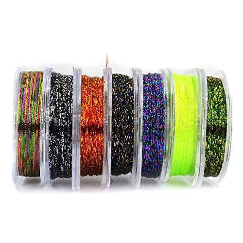 MNFT 7Pcs 50m/ Spool Metallic Guide Wrapping Lines DIY Fishing Line Thread Strong Nylon for Rod Building 7 Colors Rod Building Wrapping Thread (Color Mixing, 50) ()