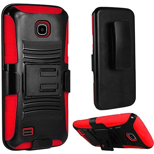 Huawei Union Y538 (Boost Mobile), LF Hybrid Armor Stand Case with Holster and Locking Belt Clip Accessory (Holster Red)