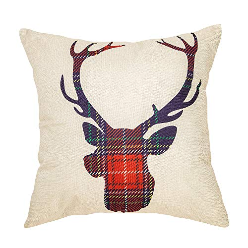 Fahrendom Christmas Sign Red Buffalo Plaid Deer Elk Anlter Farmhouse Style Winter Cotton Linen Home Decorative Throw Pillow Case Cushion Cover with Words for Sofa Couch 18 x 18 in