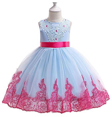 Summer Princess Dress Kids Dresses for Girls Evening Birthday Party Dresses Spring Wedding Dress Kids Clothes Toddler Girls,Sky Blue,9]()